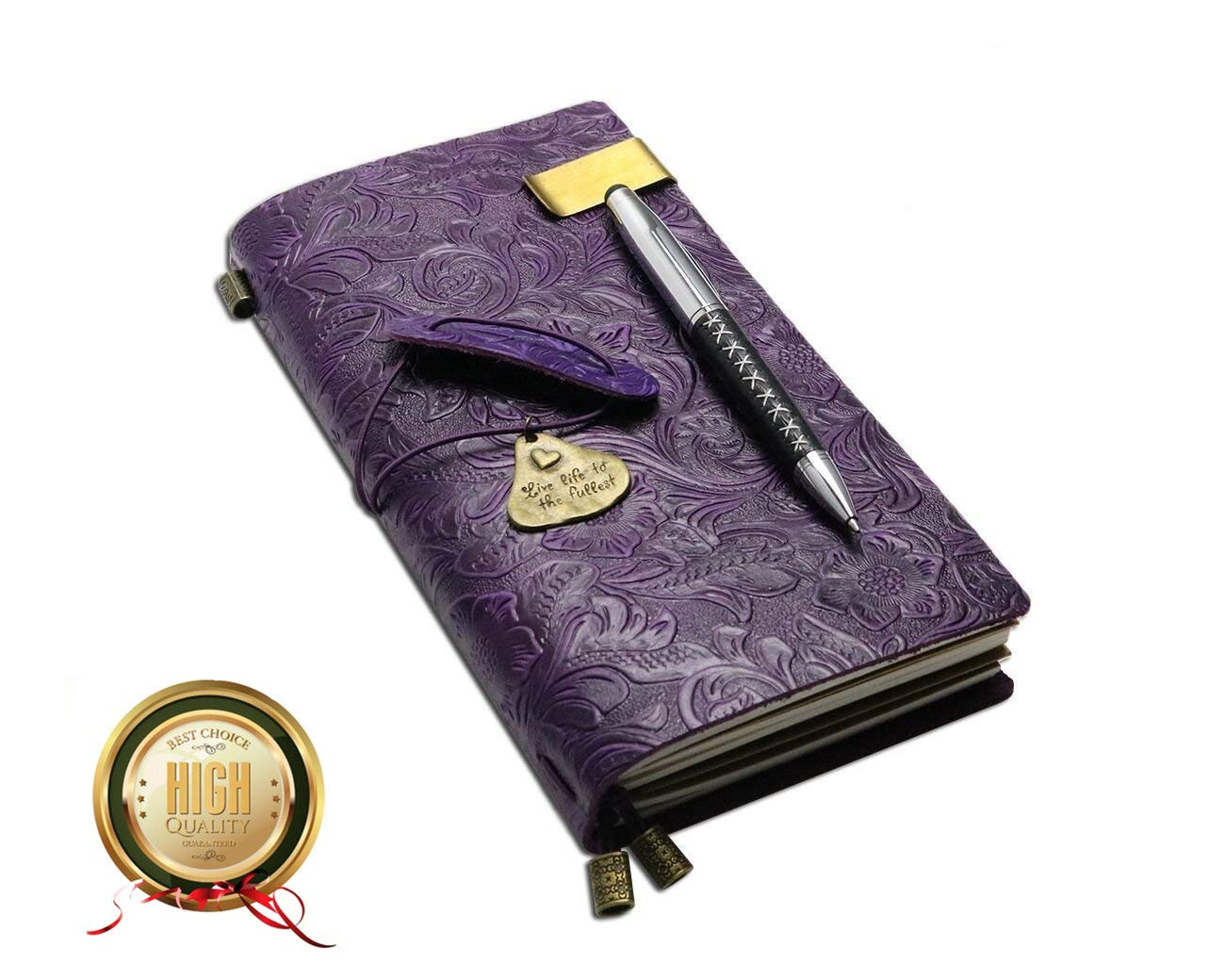 Refillable Handmade Traveler's Notebook, Leather Travel Journal Vintage Notebook with Ballpoint Pen for Men & Women, Perfect for Writing, Gifts, Travelers, Standard Size 8.5'' x 4.5'' Inches - Purple by Sueroom