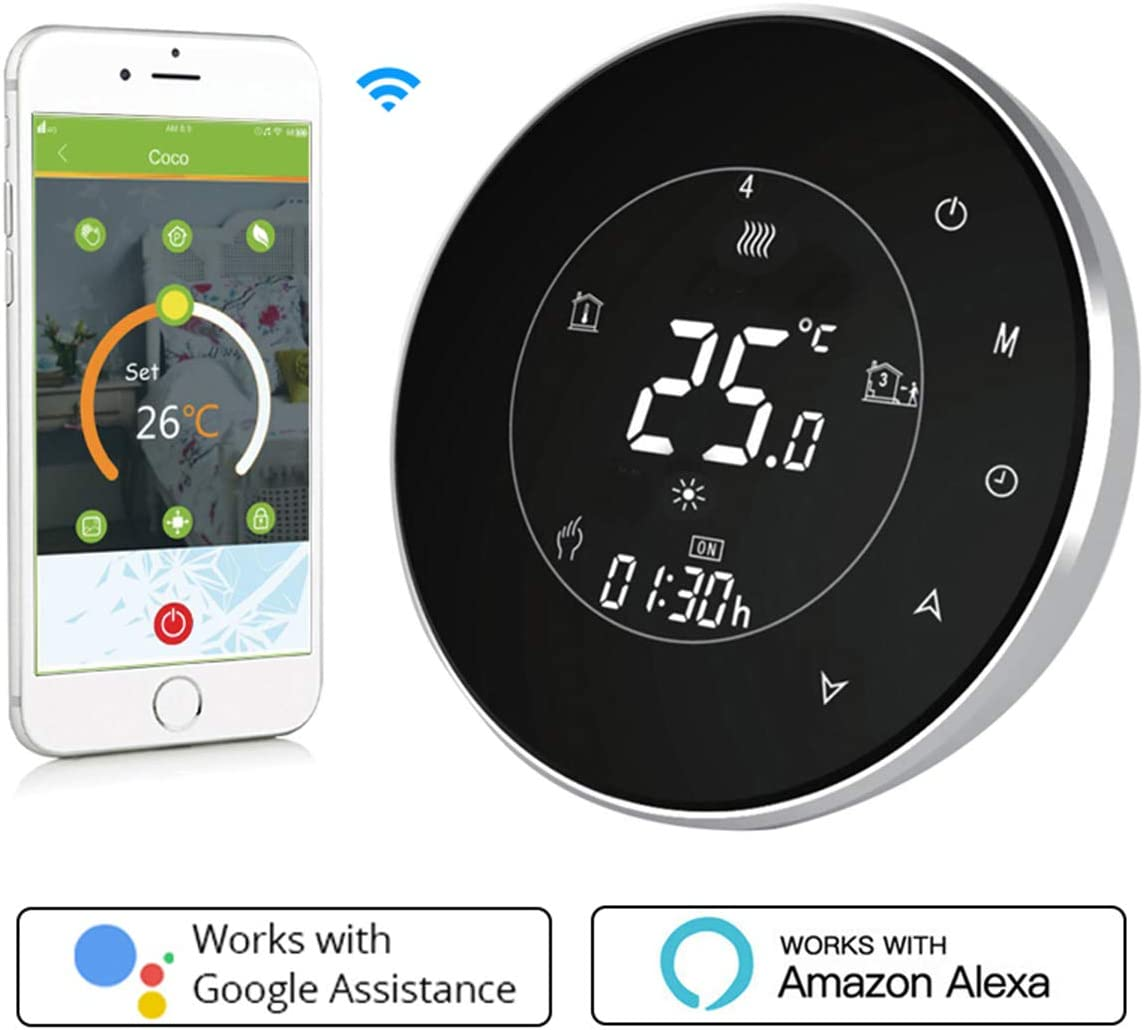 Termostato Inteligente para caldera de gas/aguaTermostato Calefaccion Wifi Pantalla LCD (pantalla TN) Bot¨®n t¨¢ctil retroiluminado programable con Alexa Google Home and Phone APP-Redondo/Negro