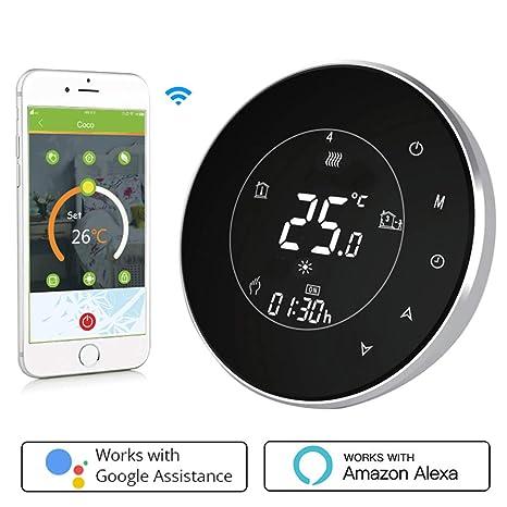 Termostato Inteligente para caldera de gas/aguaTermostato Calefaccion Wifi Pantalla LCD (pantalla TN) Botón táctil retroiluminado programable con ...