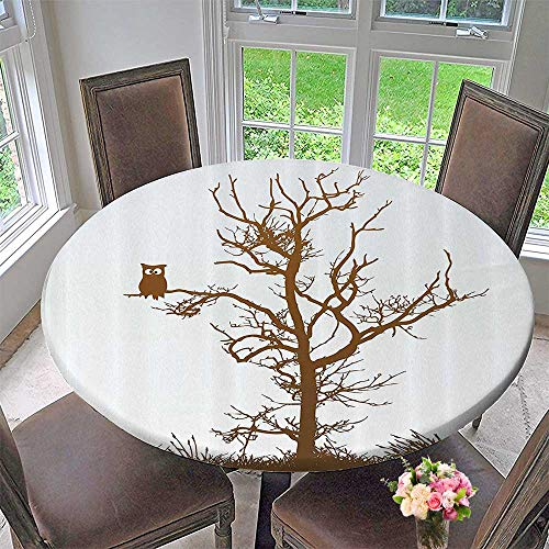 (Mikihome Luxury Round Table Cloth for Home use Cross Eyed Owl Autumn Tree Branch Solitary Nocturnal Bird Artistic 40