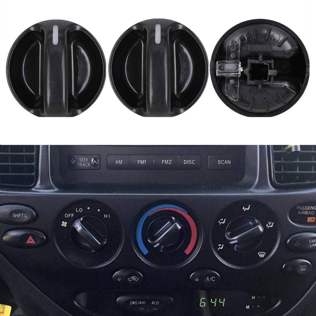 Replaces# 55905-0C010 559050C010 AC Climate Control Knob Set of 3 VCCA Air Conditioner Heater Control Switch Knob Fit Toyota Tundra 2000-2006