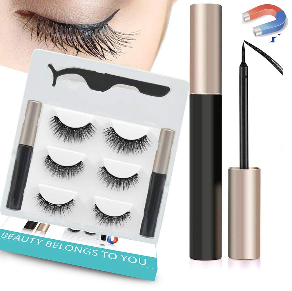 Upgraded Magnetic Eyeliner and Lashes, Magnetic Eyelashes with 2pcs Eyeliner Kit, 3 Styles Magnetic Lashes, Reusable Silk False Magnetic Eyelashes, No Glue Needed, Easier To Use Than Traditional