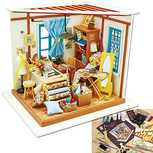 (Bits and Pieces - Lisa's Tailor Shop Model Kit - Architectural 3D Model Kit for Adults - Miniature Building Set with Working Lights - Detailed, Colored Instructions)