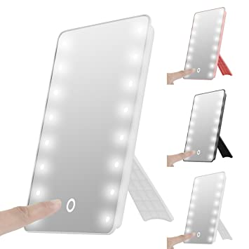 Superb 16 LED Lighted Vanity Mirror,SOONHUA Portable Touch Screen LED Makeup Mirror  Battery Operated Cordless