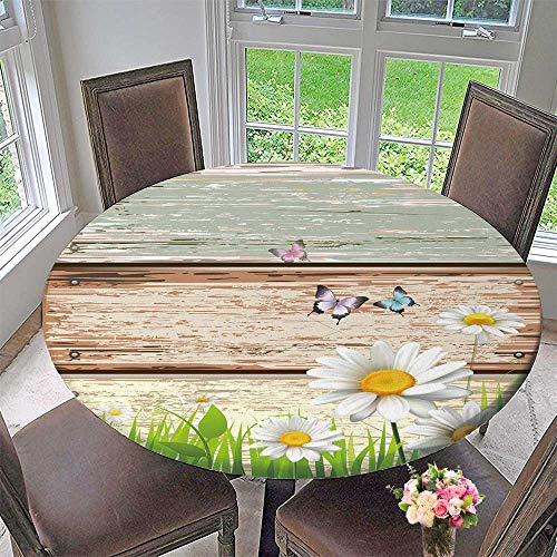 Round Polyester Tablecloth Table Cover Antique Old Planks American Style Western Rustic Wooden and White Daisies, Grass and Butterflies for Most Home Decor 40