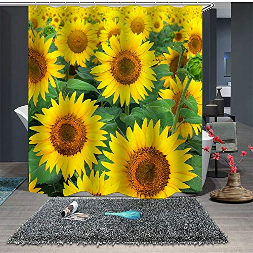 (Maxwelly Sunflower Shower Curtain Natural Flower Bathroom Shower Curtain with Hooks for Home Decoration - Polyester Waterproof 72-Inch by 72-Inch)