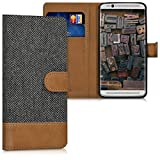kwmobile Wallet case Canvas Cover for ZTE Axon 7 Mini - Flip case with Card Slot and Stand in Anthracite Brown