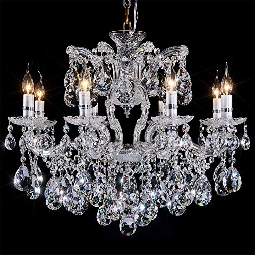 AIDOS Classic Vintage K9 Crystal Candle Chandeliers Lighting, 8 Lights Pendant, Ceiling Fixture Lamp for Elegant Decoration, D 28.3 Inch H24.4 Inch