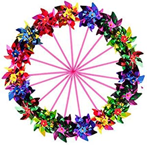 Sohapy 20 Pack Mixed Colors Plastic Sequined Pinwheels,Windmil Spinners for Party,Kids Toy,Garden,Lawn or Decor