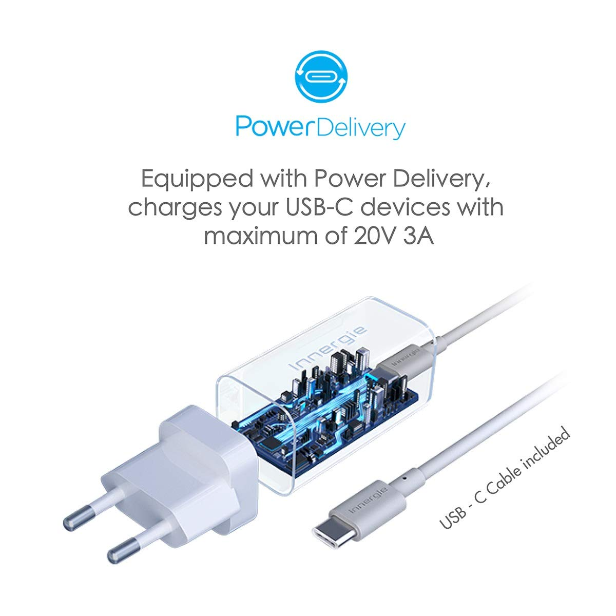 Innergie USB C Charger, 60W International Laptop Charger, World's Smallest USB-C Power Adapter with Interchangeable EU/UK Plugs, for New MacBook Pro/MacBook Air, Supports PowerDelivery USB PD [60C] by Innergie (Image #4)