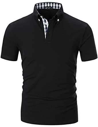 d4ee250c STTLZMC Men's Short Sleeve Polo Shirts Casual Fit Golf Solid Color Tops