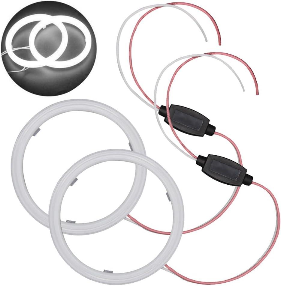 Taben Set de commutateur blanc 60 mm 36 SMD 3020 puces LED anneau clignotant Angel Eyes et bo/îtier antibrouillard avec coque laiteuse