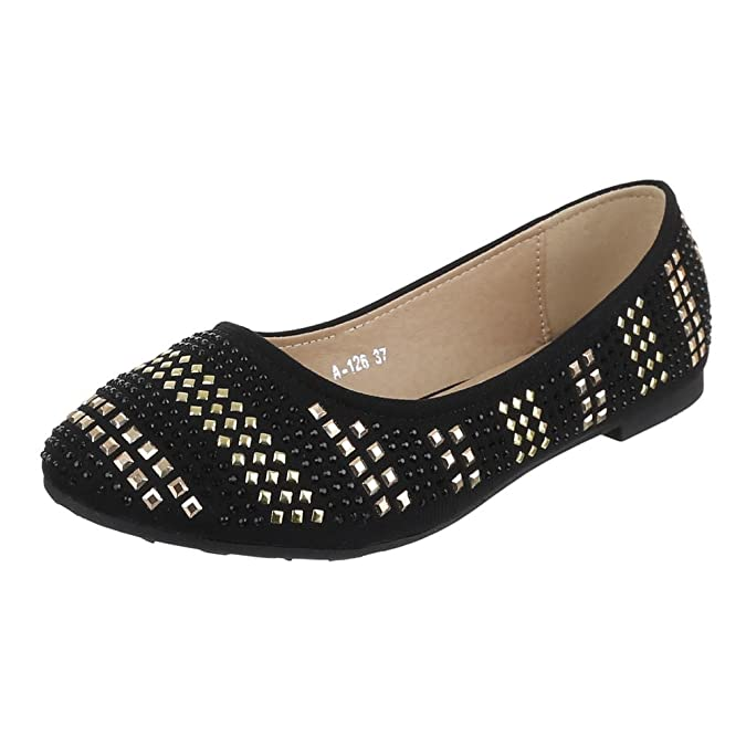 Ital-Design Damen Schuhe, A-126, Ballerinas Pumps mit Strass und Nieten DEKO:  Amazon.de: Schuhe & Handtaschen