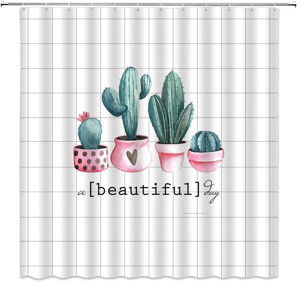 Jingjiji Cactus Shower Curtain Watercolor Flowers Tropical Plants Spring nature bloom Cartoon with Geometric Lattice design Love potted Bathroom Decoration Polyester Fabric with Hook 70 X 70 Inch Pink