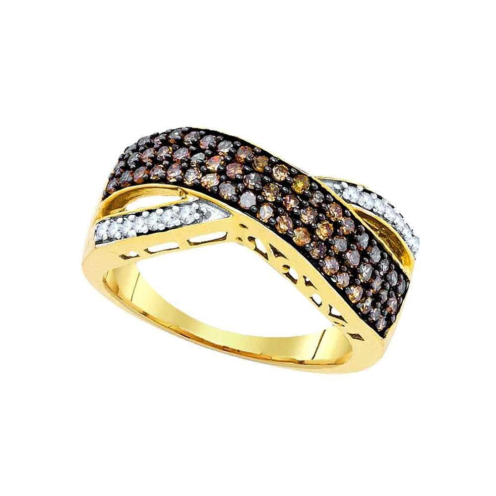 10K Yellow Gold Brandy Diamond Chocolate Brown Triple Row Wave Ring 3/4 Ctw.