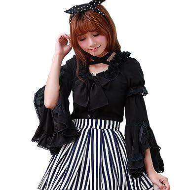 54b868d13d7 Smiling Angel Women s White Black Sweet Chiffon Lace Long Sleeve Vintage  Flared Sleeves Lolita Blouse Shirts