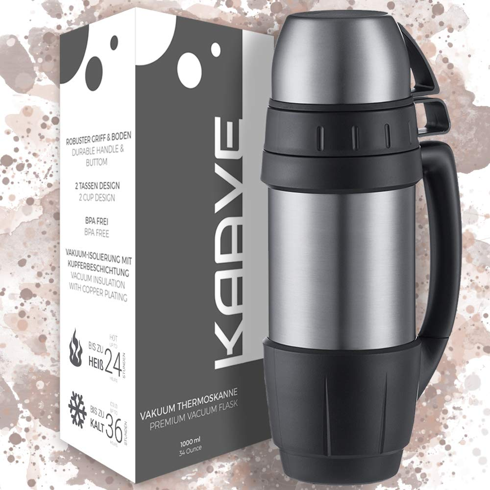 """Kaave Thermo Bottle """"bigBoy""""   1 Litre   Stainless Steel Flask for Hot Drinks   Vacuum Insulated with 2 Cups - BPA Free   Perfect for Hot Coffee & Tea Outdoor, Camping Work - Everywhere"""