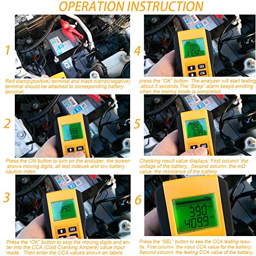 Digital 12V Car Battery Tester Automotive Battery Load Tester and Analyzer of Battery Life Percentage,Voltage, Resistance and CCA Value by coogstore (Image #2)