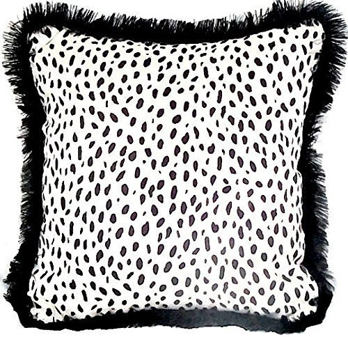 Velvet dalmatian pillow cover 18x18 – Black fringe fur piping cushion cover – Animal print throw couch sham – White accent chair sofa toss by SABDECO
