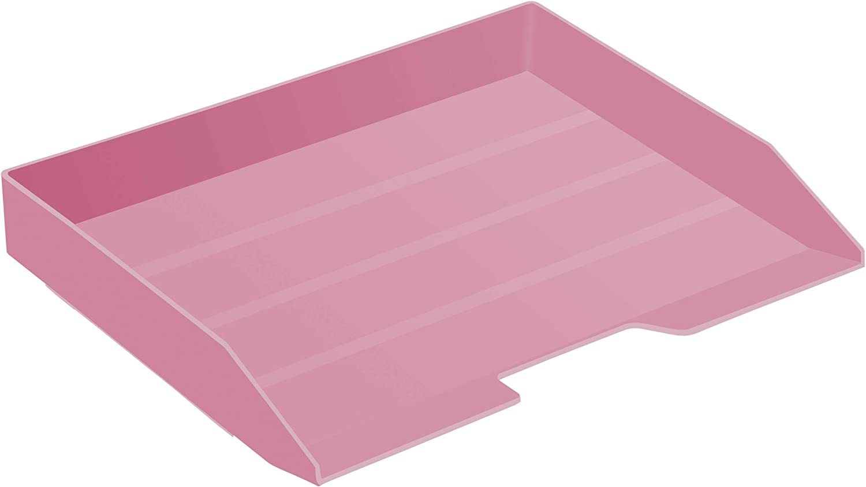Acrimet Stackable Letter Tray Single Side Load Plastic Desktop File Organizer (Solid Pink Color) (1 Unit)