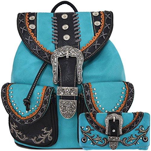 Western Style Daypack Cowgirl Backpack Belt Buckle Fashion School Bag Women Travel Biker Purse Wallet Set (Turquoise Set)