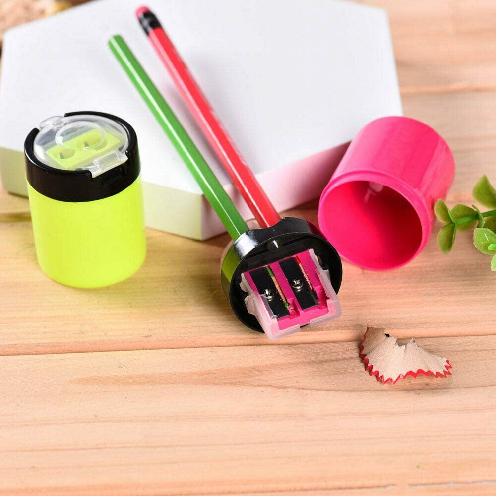 rose 4 couleurs les artistes SENRISE Taille-crayon /à double trous avec r/écipient Id/éal pour le bureau les adultes et les enfants 0gamme//rose//bleu//jaune l/école