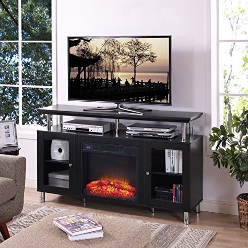 Home Source TV12359 TV Stand Convertible to Electrical Fireplace Frame, Black ()