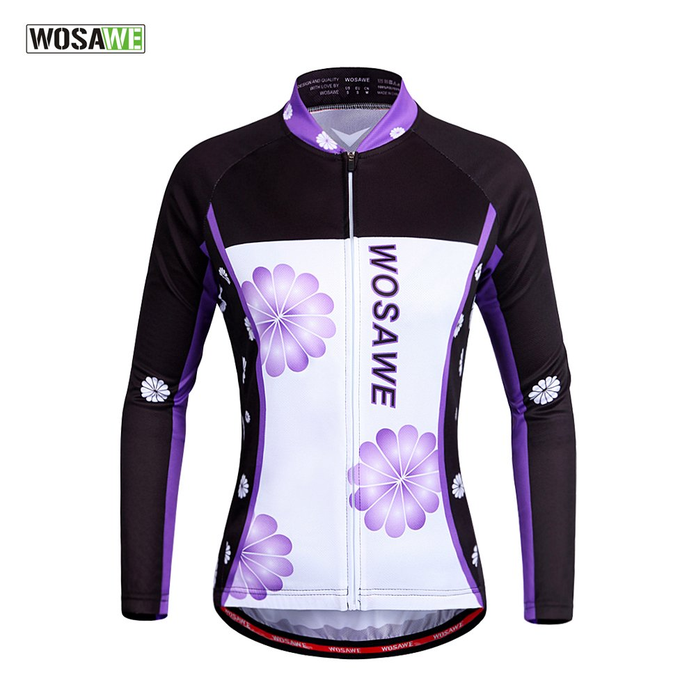 WOSAWE Womens Cycling Jersey Shirt Long Sleeves Breathable 4D Padded Pants WOLFBIKE