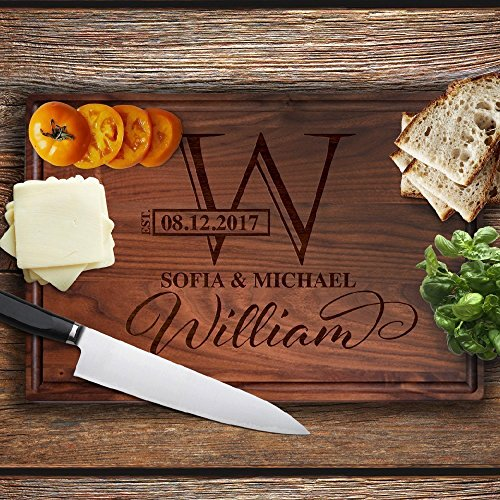Engraved Corporate Awards - Lily's Atelier Custom Engraved Cutting Board - Wedding, Anniversary, Housewarming, Birthday, Corporate Gift and for Awards - Customizable, Personalized Date, Name, Last Name and Monogram - LACB_T4_D1
