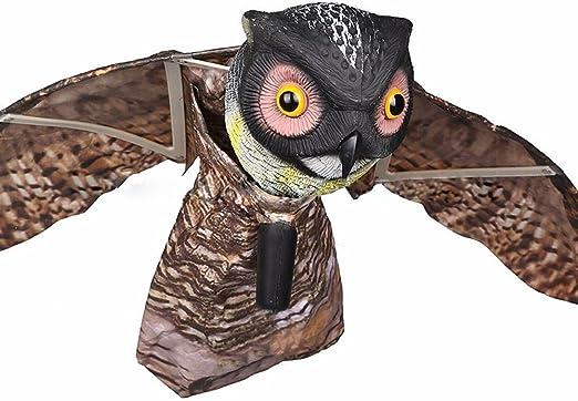 Enemigo Natural de espantapájaros de pájaros Bubo señuelo repelente al Pest Disuasión con alas movimiento realista pájaro Scare – plástico – Repel palomas, cuervos, gorriones, gaviotas, roedores: Amazon.es: Jardín