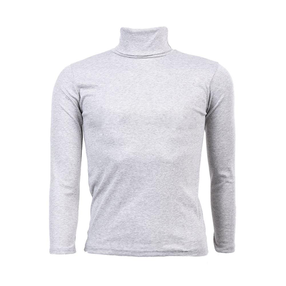 SODIAL(R) Moda para Hombre otono invierno de cuello alto sueter camisa patron puro Jersey Gris claro - L 033253J2