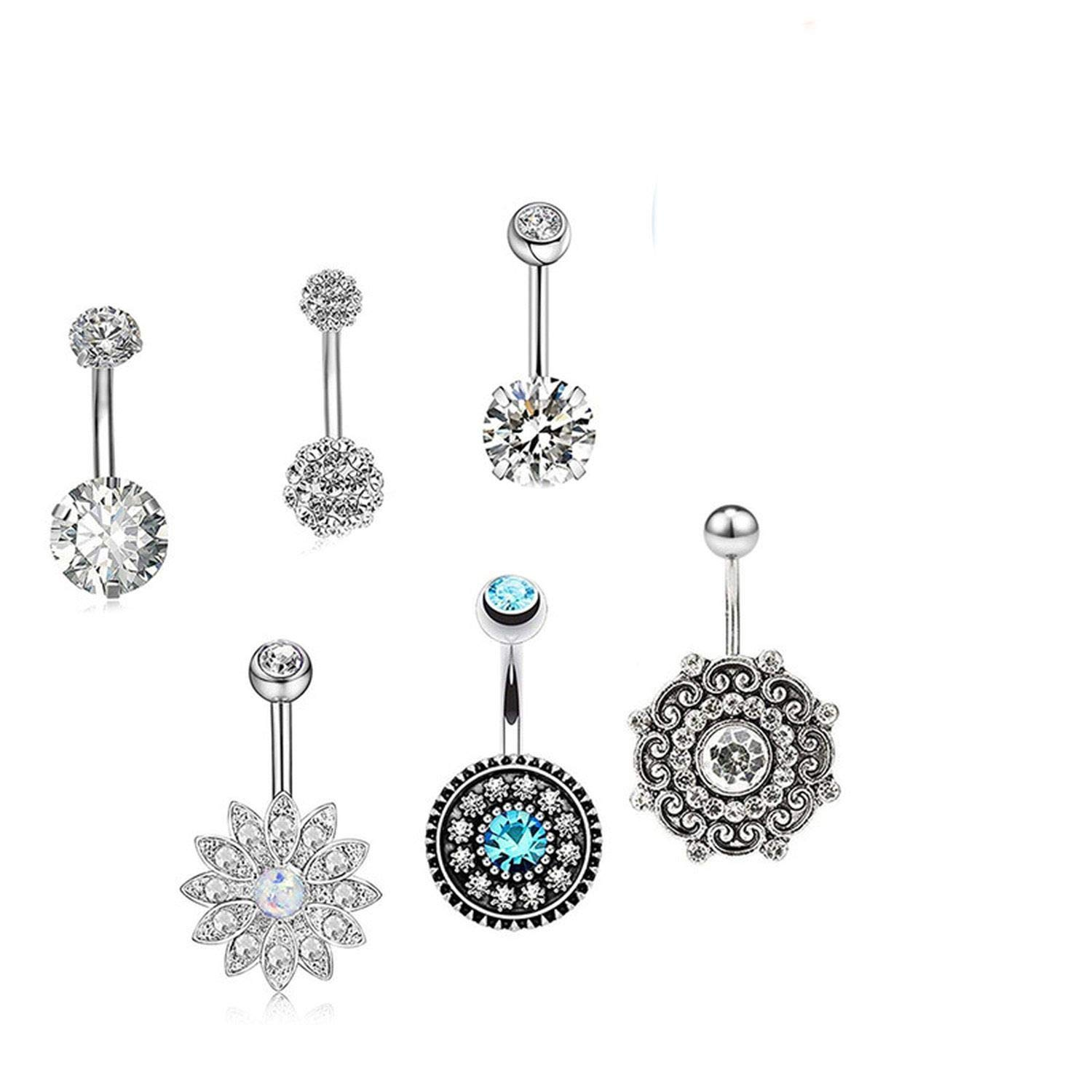 jiajiastores 6 Pcs//Set Elegant Body Piercing Jewelry Crystal Flower Navel Belly Button Ring Chic Stainless Steel Navel Ring