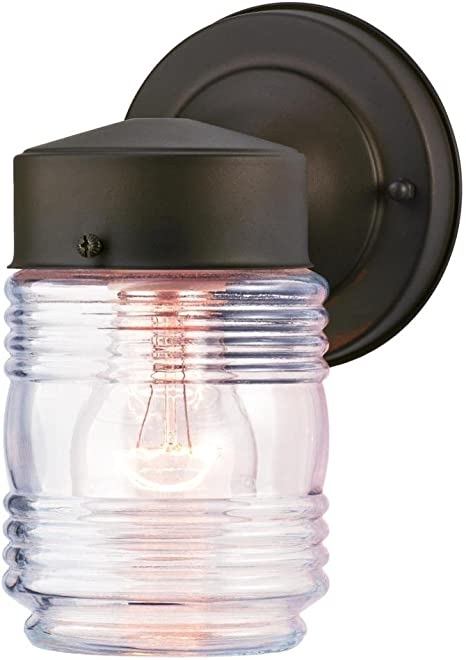 Westinghouse Lighting 6688200 One Light Outdoor Jelly Jar Wall Fixture Oil Rubbed Bronze Finish With Clear Ribbed Glass