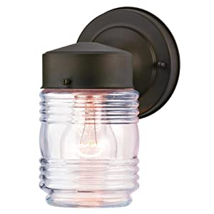 Westinghouse Lighting 6688200 One-Light Outdoor Jelly Jar Wall Fixture, Oil Rubbed Bronze Finish with Clear Ribbed Glass,