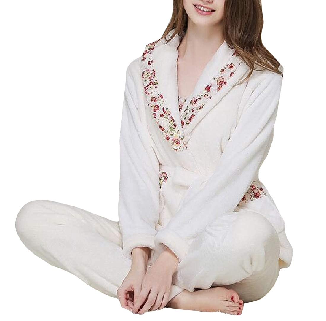 90468d43e4 Pivaconis Women Sleepwear Loungewear 3 Pieces Warm Flannel Pajama Sets at  Amazon Women s Clothing store