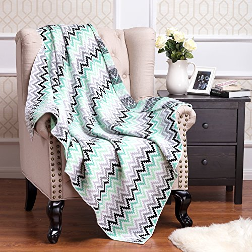 Knitted Throw Blanket 100% Acrylic Soft Couch C...