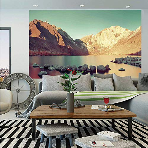 SoSung Lake House Decor Wall Mural,Snow Mountain and Convict Lake with Reflections in Yosemite Countryside Scene,Self-Adhesive Large Wallpaper for Home Decor 83x120 inches,Green -