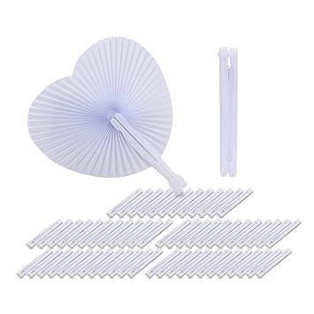 QUMAO 60 STK. Handgriff Fächer Handfächer Weiß Papierfächer Klappfächer Hand Fan Papier Hochzeit Party Faltbar Taschenfächer