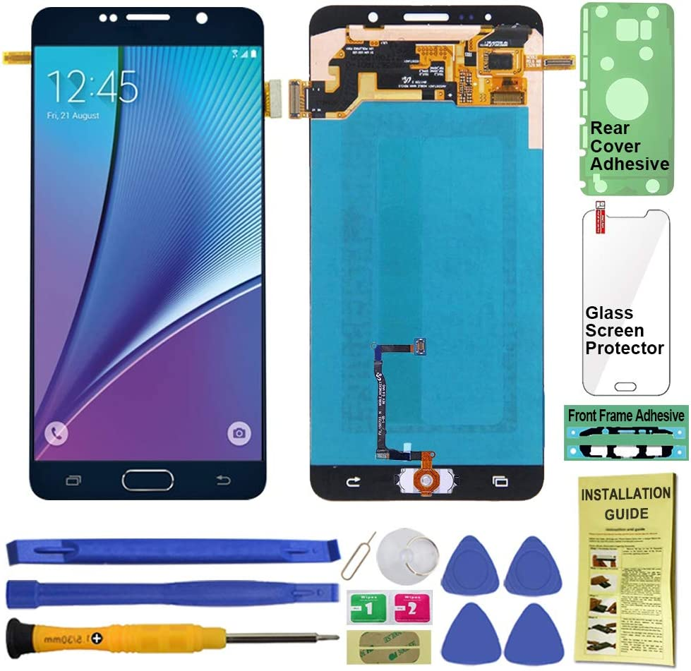 Display Touch Screen (AMOLED) Digitier Assembly with Home Button for Samsung Galaxy Note 5 All Models (Unlocked) N920 N920A N920T N920V N920P N920R4 N920F (for Repair Replacement) (Black Sapphire)