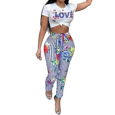 Hibote Damen Zweiteiller Overalls Lange Jumpsuit - Frauen 2 Stück Playsuit  Sexy Bauchfrei T-Shirt High Waist Gestreift Hosen  Amazon.de  Bekleidung 5dc3dab96f