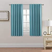 2X Blackout Curtains Pair | Blockout Back Tab/Rod Pocket Window Curtain Draperies for Living Room/Bedroom Soft Thick…