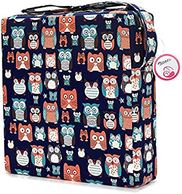 12.6x12.6x3.1, Blue Owl Zicac Toddler Portable High Chair Booster Seat Cushion Washable Thick Chair Seat Pad for Baby Kids Children