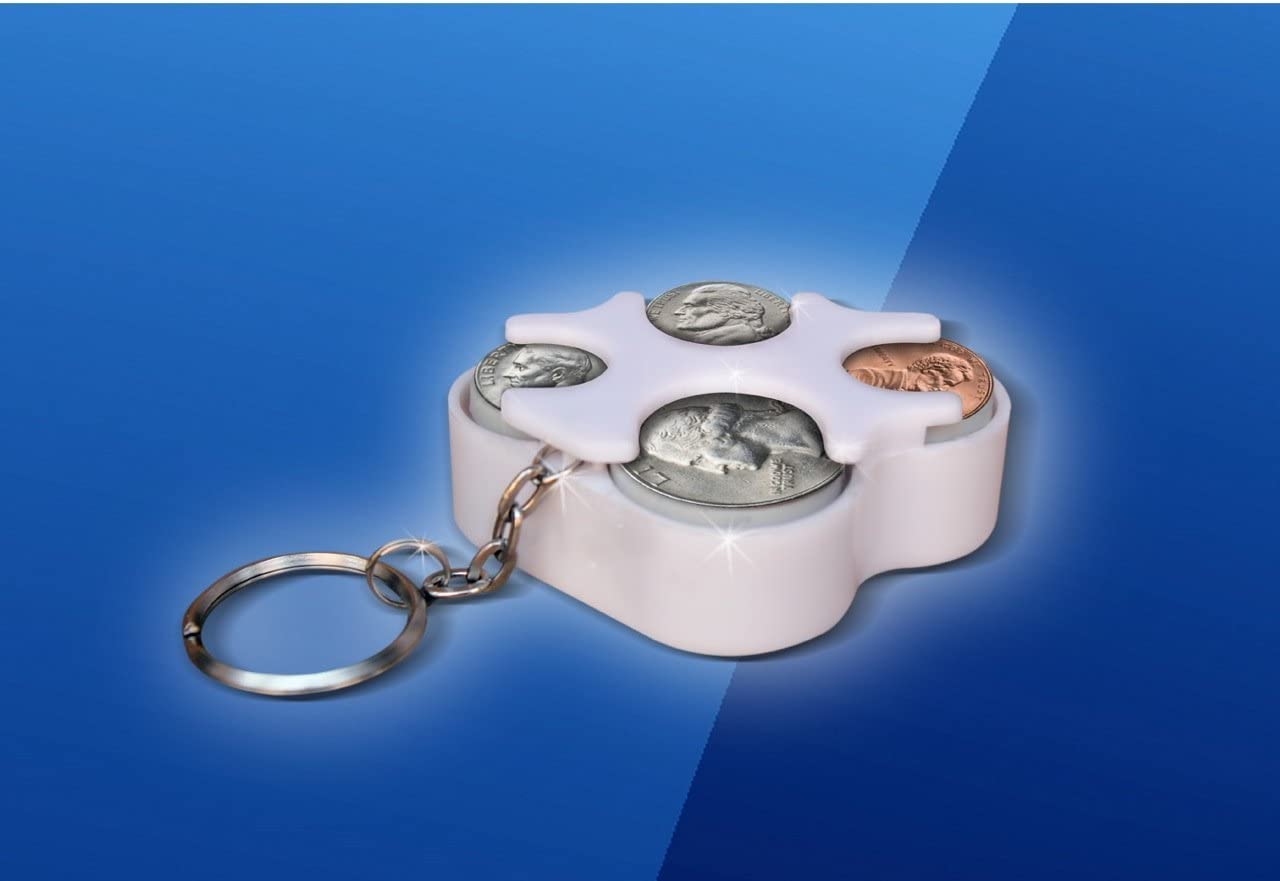 Key Chain Coin Holder Organizer Assorted Colors White