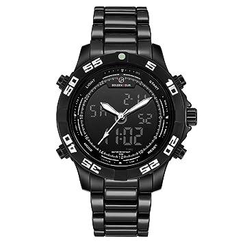 Relojes para Hombre Sport Quartz Waterproof Mens Reloj Digital De Acero Inoxidable Relogio Masculino,Whiteneedle