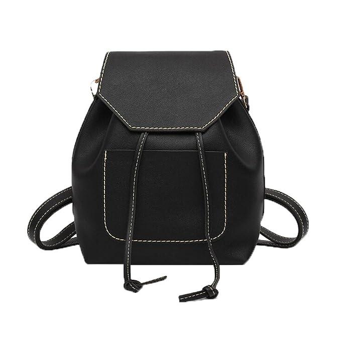 9598e349474 VIASA Drawstring Bag Women Backpack Fashion Leisure Girl Student Leisure  Schoolbag Soft Bag (Black)