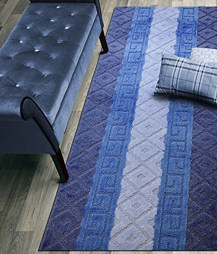 Custom Size Hallway Runner Rug, Slip Resistant, 26 Inch Wide X Your Choice of Length, Meander Blue, 26 Inch X 4 feet