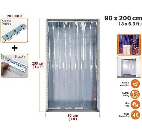 Acepunch Cortina de tira de plástico PVC 90cm x 200cm (3 x 6.6 ft ...