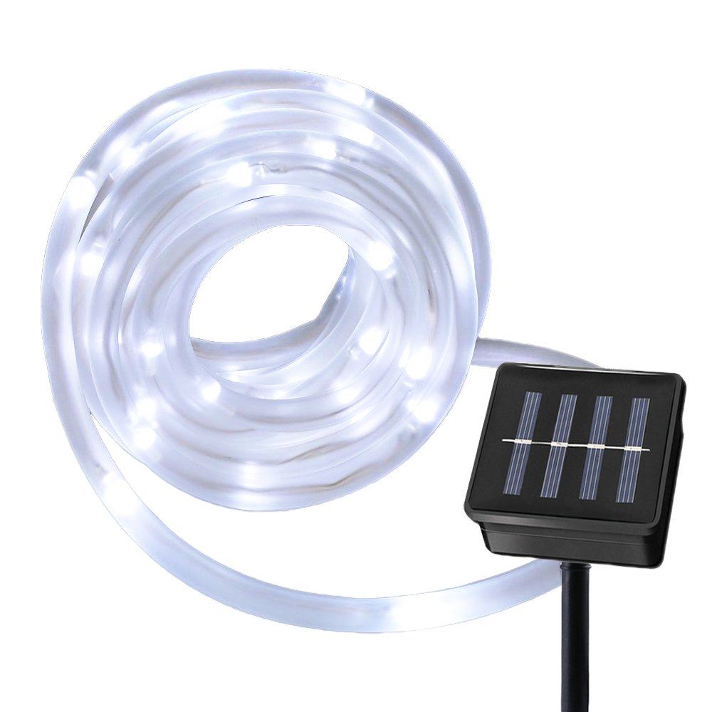 RUICHEN Solar Powered String Light,16.5FT 50 LED Strip Rope Tube Fairy Lights Waterproof for Outdoor Garden Wedding Party Christmas Xmas Decoration(White)