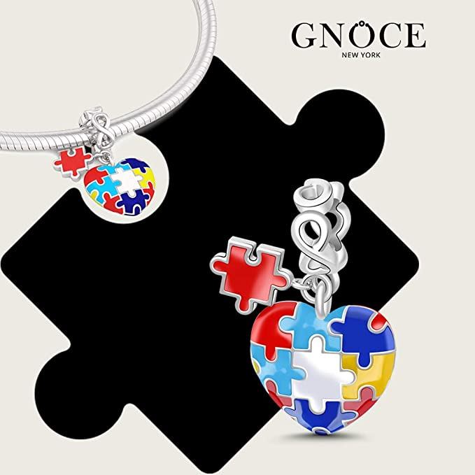 25 Autism Crystal Heart Puzzle Piece Charms In a Bag C-141-2 25 Charms