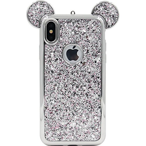 - Tech Express Mouse Ears Glitter Case for Apple iPhone X/Xs Design Cover Chrome Bumper Bling Sparkle [TPU Gel Edge] Rhinestone Mickey Diamond Character Drop Protection Minnie X (Silver)